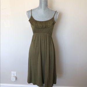 Dex olive green ruffle dress